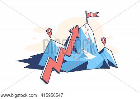 Mountain With Arrow Pointer Vector Illustration. Flag