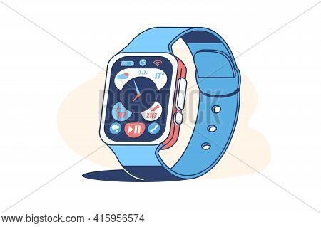 Smart Watch Device Display With App Icons