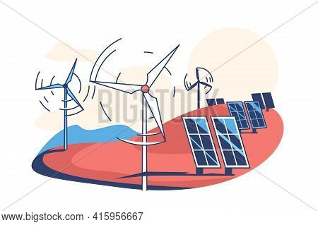 Solar Panels And Wind Turbines Vector Illustration