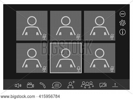Mockup Video Conferencing And Online Meeting Workspace Vector Page. Webinar Interface. Online Commun