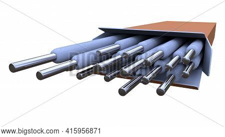 Arc-welding Electrodes Pack - Isolated Industrial 3d Rendering
