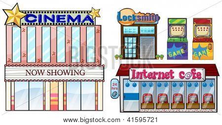 Illustration of a set of shops