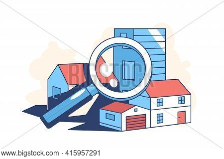 Real Estate Search Vector Illustration. Building And