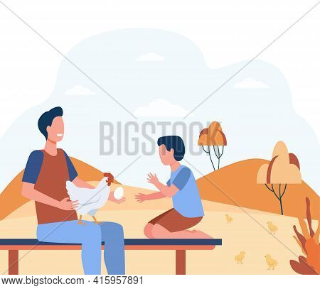 Cartoon Father And Son Characters With Hen And Egg. Flat Vector Illustration. Man Holding Chicken An