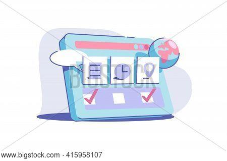 Site Service Usage Vector Illustration. Modern Device