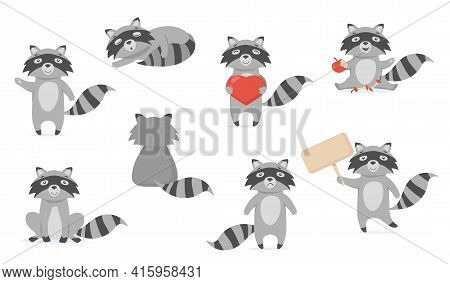 Funny Raccoon Flat Pictures Set For Web Design. Cartoon Cute Racoon Character In Different Poses Iso