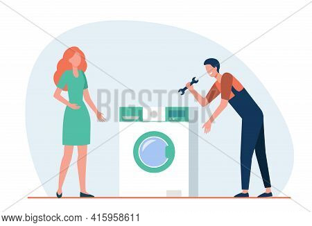 Cartoon Mechanic Helping Woman To Fix Broken Washing Machine. Flat Vector Illustration. Girl And Spe