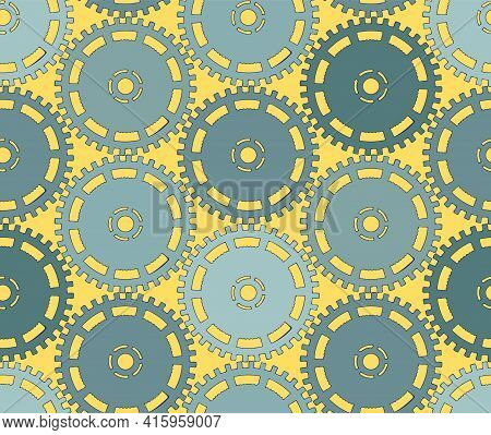 Vector Illustration Of A Gear. Colored Round Gear Elements Of The Mechanism. Details On Yellow. Engi