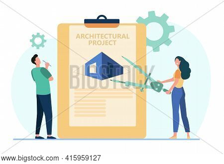 Cartoon Tiny Architects And Giant Architectural Project. Flat Vector Illustration. Man And Woman Sta