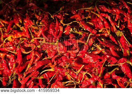 Red spicy chili peppers close up