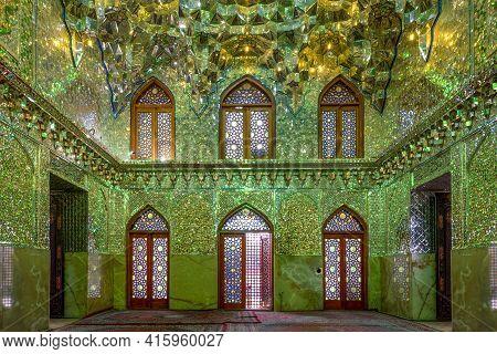 Shiraz, Iran - 04.14.2019: Interior Of Famous Green Mosque In Shiraz, Iran. Million Green Mirrors. S