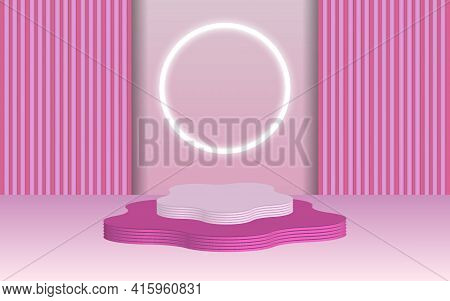 Background Vector 3d Pink Rendering With Podium And Minimal Blue Wall Scene, Minimal Abstract Backgr