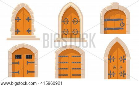 Creative Medieval Castle Doors Flat Pictures Set For Web Design. Cartoon Collection Of Game Heavy Wo