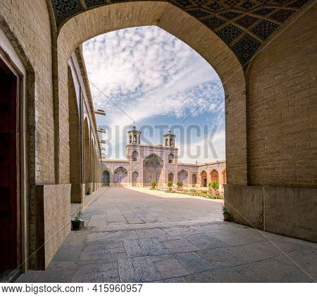 Shiraz, Iran-04.17.2019: Courtyard Of The Pink Mosque, Nasir Al-mulk, With No People. Beautiful Mosq