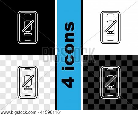 Set Line Mute Microphone On Mobile Phone Icon Isolated On Black And White, Transparent Background. M