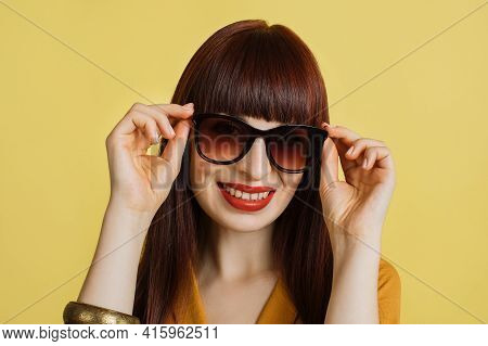 Summer, Eye Protection, Sunglasses. Close-up Portrait Of Stylish European Girl Wearing Sunglasses. S