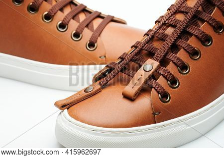 Laces On Brown Sneakers