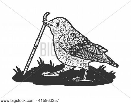 Bird Sparrow Pulls The Worm Out Of The Ground Sketch Engraving Vector Illustration. T-shirt Apparel