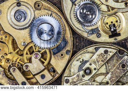 Gears Of Vintage Business Golden Clockwork Mechanism, Time Management Concept