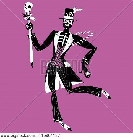 Dancing Man In Skull Makeup Dressed In Baron Samedi (baron Saturday) Costume. Black And White. Vecto
