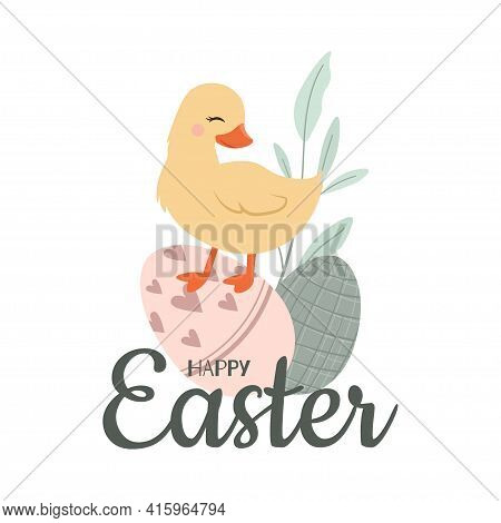 Cute Happy Easter Yellow Duckling Vector Illustration.