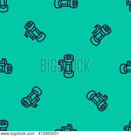Blue Line Camera Vintage Film Roll Cartridge Icon Isolated Seamless Pattern On Green Background. 35m