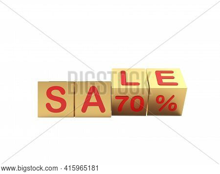 Gold Cubes With A Sale Of Seventy Percent Are Scrolled. 3d Illustration