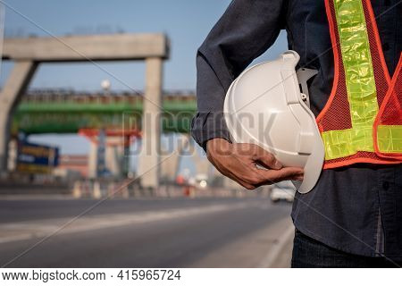 White Helmet With An Engineer Who Built An Elevated Road