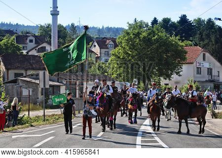 Donji Vakuf, Bosnia And Herzegovina - June 29, 2019: Horse Riders Take Part In Ajvatovica Pilgrimage