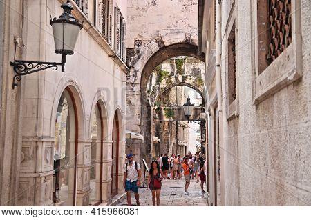 Split, Croatia - July 20, 2019: People Visit Old Town Of Split. Croatia Had 18.4 Million Tourist Vis