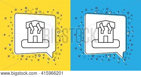 Set Line Arson Home Icon Isolated On Yellow And Blue Background. Fire In Building. Flames From Offic