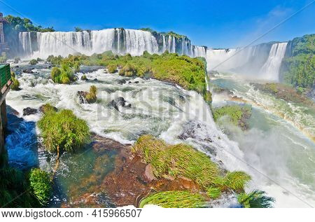 Picture From The Spectacular Iguacu National Park With The Impressive Waterfalls On The Border Betwe