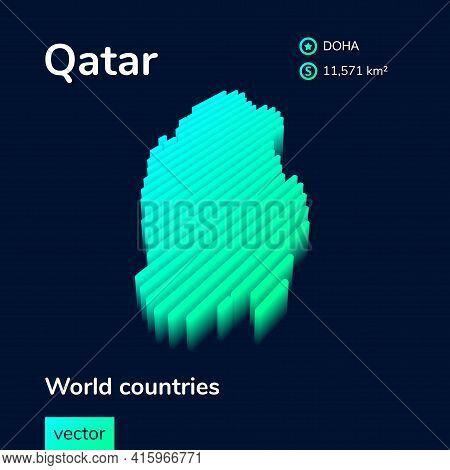 Stylized Neon Simple Digital Isometric Striped Vector Qatar Map, With 3d Effect.  Map Of Qatar Is In