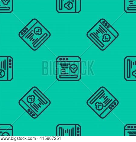 Blue Line System Bug Concept Icon Isolated Seamless Pattern On Green Background. Code Bug Concept. B