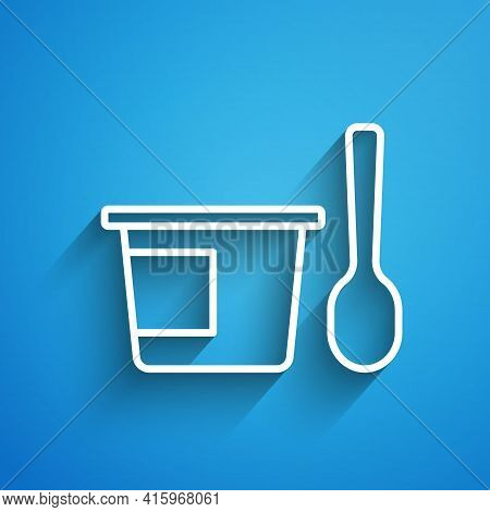 White Line Yogurt Container With Spoon Icon Isolated On Blue Background. Yogurt In Plastic Cup. Long