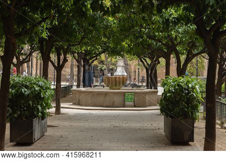 Barcelona, Catalonia: 2021 April 6: Library Of Catalonia In El Raval Neighborhood In The City Of Bar