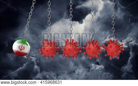 Iran Flag Ball Hits Into A Line Of Coronavirus Molecules. 3d Rendering