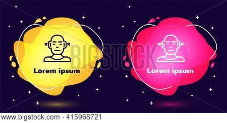 Set Line Deafness Icon Isolated On Blue Background. Deaf Symbol. Hearing Impairment. Abstract Banner