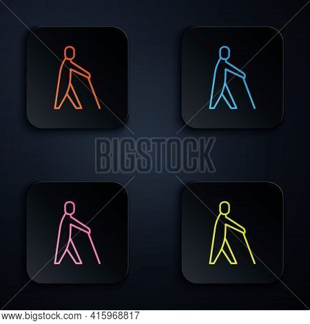 Color Neon Line Blind Human Holding Stick Icon Isolated On Black Background. Disabled Human With Bli