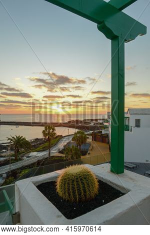 Sunrise At The Coast Of Costa Teguise On Lanzarote Island, Spain
