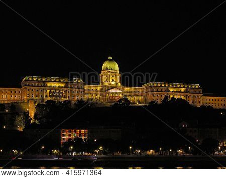 Budapest, Hungary - 12 Jun 2011: The View On Royal Palace In Budapest At Night, Hungary