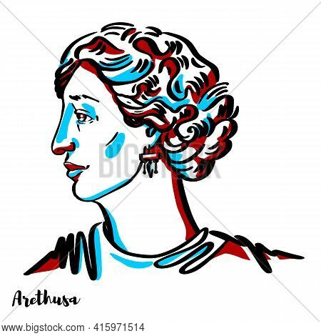 Arethusa Engraved Vector Portrait With Ink Contours On White Background. In Greek Mythology, Arethus