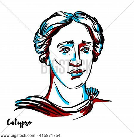 Calypso Engraved Vector Portrait With Ink Contours On White Background. The Nymph In Greek Mythology