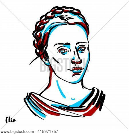 Clio Engraved Vector Portrait With Ink Contours On White Background. In Greek Mythology, Clio Is The