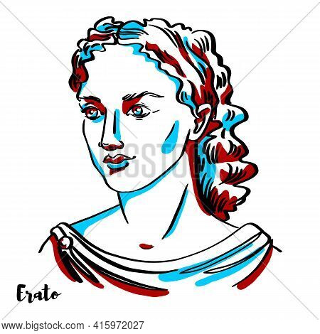 Erato Engraved Vector Portrait With Ink Contours On White Background. In Greek Mythology, Erato Is O