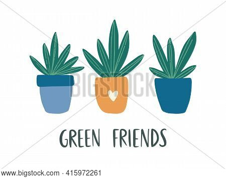Trendy Home Decor With Hand-drawn House Plant. Cute Succulent In Colorful Pot. Urban Jungle Vector C