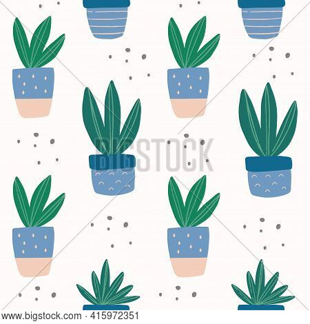 Seamless Pattern With Hand-drawn Cute Succulent In Pot And Texture. Trendy Colors House Plant Vector