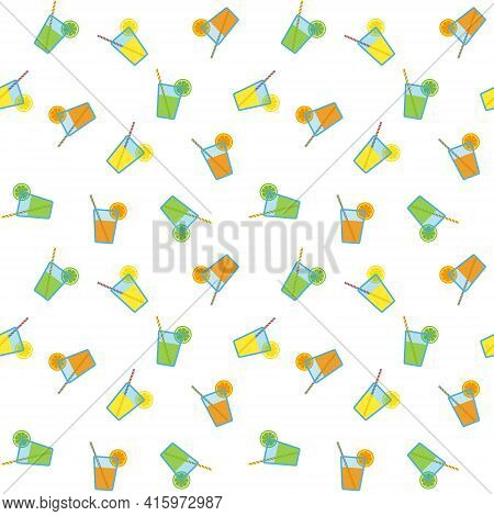 Citrus Juices In Blue Glasses With Striped Straws And Citrus Slices, Seamless Pattern On White Backg