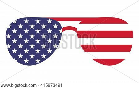 Sunglasses Shape Usa Flag - Independence Day Usa With Motivational Text. Good For T-shirts, Happy Ju
