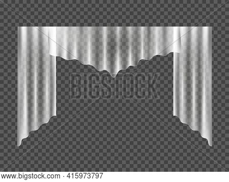 White Curtain. Cloth Curtain With Fold Isolated On Transparent Background. Lear White Transparent Cu